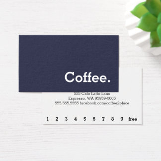 Simple Word Dark Felt Loyalty Coffee Punch-Card Business Card