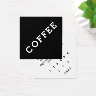 Simple Word Dark Loyalty Coffee Punch-Card Angle Square Business Card