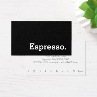 Simple Word Dark Loyalty Espresso Punch-Card Business Card