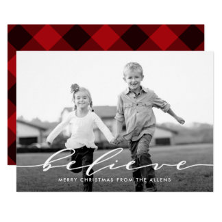 Simple Word Holiday Photo Card BELIEVE