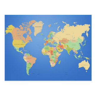 Simple World Map Postcard
