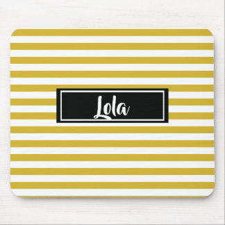 Simple Yellow and White Stripes Striped Name Mouse Mat