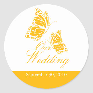Simple Yellow Butterfly Wedding Announcement Round Sticker