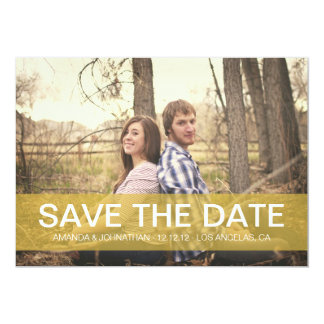 Simple Yellow Save the date Photo Announcements