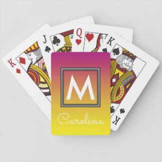 Simple Yellow to Pink Summer Gradient Monogram Playing Cards