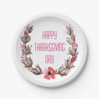 Simple yet Elegant Happy Thanksgiving Paper Plates