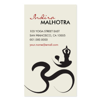 Simple Yoga Om Ohm Calligraphy Zen Business Card Business Card Templates