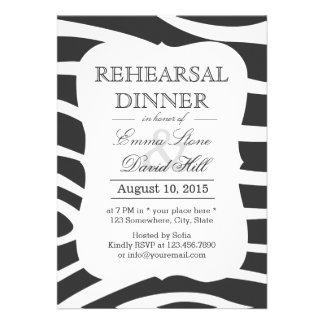 Simple Zebra Stripes Rehearsal Dinner Card