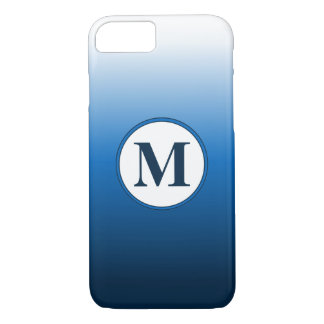 Simple Zen White Blue Ombre Gradient Monogram iPhone 8/7 Case