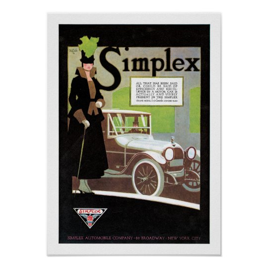 Simplex Automobile Advertisement Poster