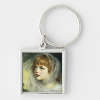 Simplicity and Innocence, 1900 Silver-Colored Square Key Ring