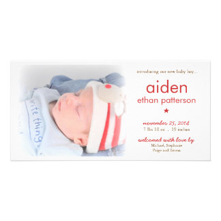 Simplicity Baby Boy Photo Birth Announcement | Red Card