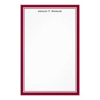 Simplicity DIY Frame White Personalized Burgundy Stationery