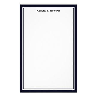 Simplicity Dk Blue / White Personalized Stationery