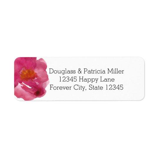 Simplicity Pink Roses Watercolor Return Address Label