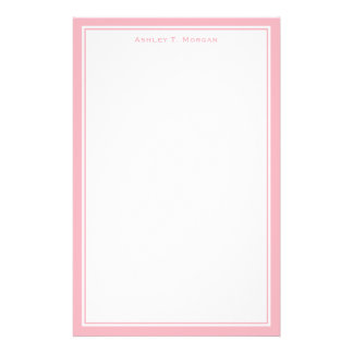 Simplicity Pink White Personalized Stationery