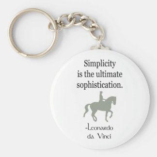 Simplicity Quote With Dressage Horse Basic Round Button Key Ring