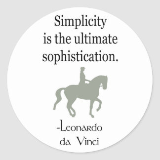 Simplicity Quote With Dressage Horse Classic Round Sticker