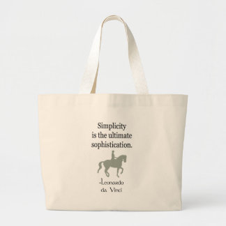 Simplicity Quote With Dressage Horse Large Tote Bag