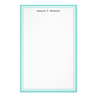 Simplicity Robin Egg White Personalized Stationery
