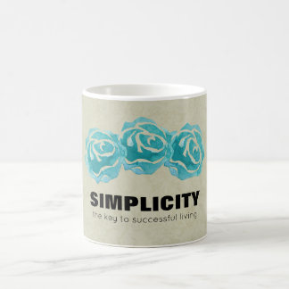 Simplicity Typography Quote with Teal Roses Coffee Mug