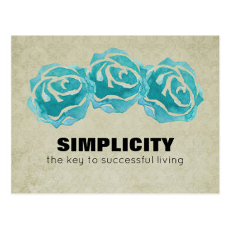 Simplicity Typography Quote with Teal Roses Postcard
