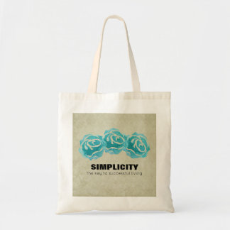 Simplicity Typography Quote with Teal Roses Tote Bag