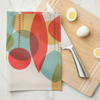 Simplified Retro Ornaments red, tan, blue Kitchen Tea Towel