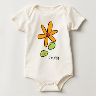 Simplify: A Whimsical Flower on an Organic Baby Bodysuit