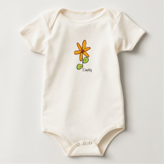 Simplify: A Whimsical Flower on an Organic Baby Bodysuit