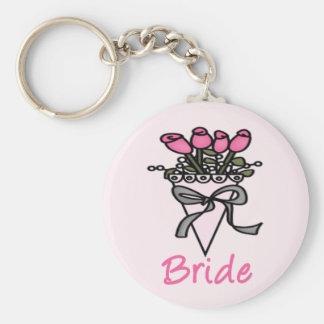 Simply Adorable Bridal Bouquet Basic Round Button Key Ring