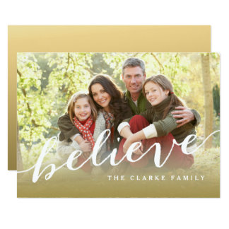 Simply Believe Hand Lettered Holiday Photo Card