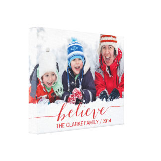 Simply Believe Holiday Greetings Gallery Wrap Canvas