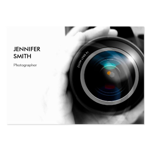 Simply Black and White Photographer Camera Lens Business Card Template