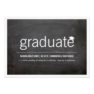 Simply Chalkboard Modern Graduate Graduation Photo Custom Announcement