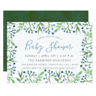 Simply Chic Blueberries Baby Shower Invitations