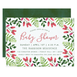 Simply Chic Floral Garden Baby Shower Invitations
