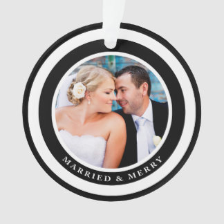 Simply Chic Married and Merry Photo Ornament