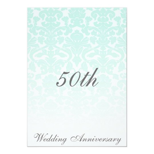 Simply Chic Mint Damask Wedding Anniversary Card