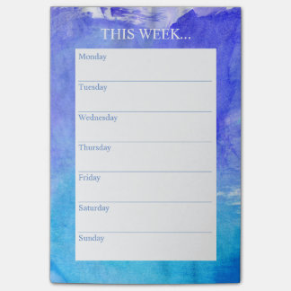 Simply Chic Weekly Planner | Watercolor Blue Post-it Notes