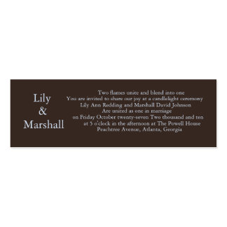 Simply Chocolate Wedding Invite Pack Of Skinny Business Cards