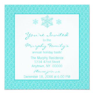 Simply Classic Damask Snowflakes Christmas Invite