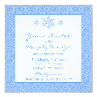 Simply Classic Damask Snowflakes Christmas Invite
