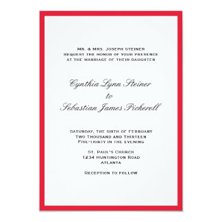 Simply color border red black wedding invitation
