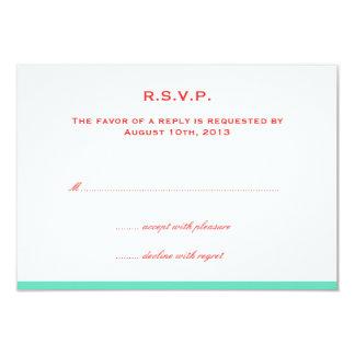 Simply color border red teal wedding rsvp response 9 cm x 13 cm invitation card