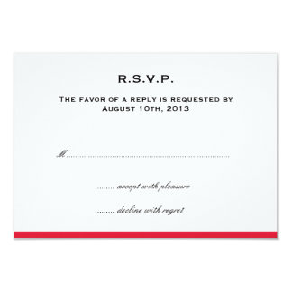 Simply color border red wedding rsvp response 9 cm x 13 cm invitation card