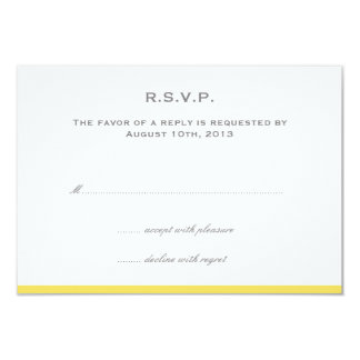 Simply color border yellow wedding rsvp response 9 cm x 13 cm invitation card