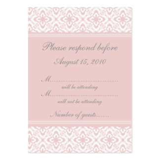 Simply Dazzling Damask RSVP Card, Light Pink Pack Of Chubby Business Cards