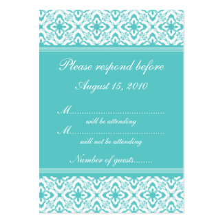 Simply Dazzling Damask RSVP Card, Turquoise Pack Of Chubby Business Cards