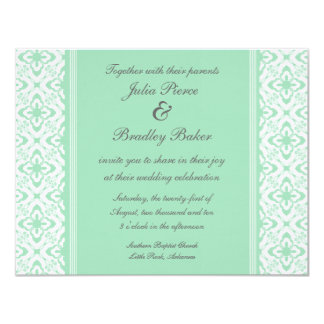 "Simply Dazzling Damask Wedding Invite, Mint Green 4.25"" X 5.5"" Invitation Card"